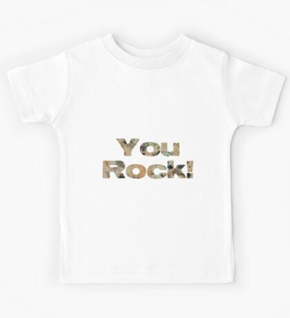 Cool Modern Stylish Cute Granite Rock Crystals Pattern You Rock Kids Tee