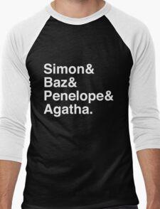 Simon Snow Carry On (First Names) White Text Men's Baseball ¾ T-Shirt