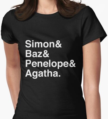 Simon Snow Carry On (First Names) White Text Womens Fitted T-Shirt