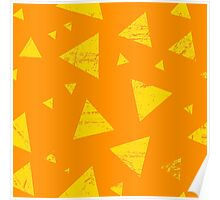Orange grunge triangle pattern Poster