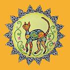 Funky, Paisley, Celtic Cat Mandala by lozsart