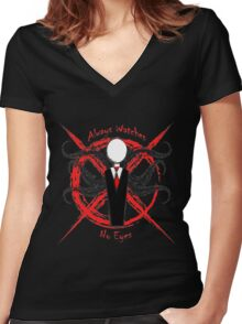 Slenderman- Always Watches, No Eyes Women's Fitted V-Neck T-Shirt