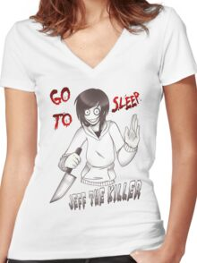 Jeff The Killer - Go To Sleep Women's Fitted V-Neck T-Shirt