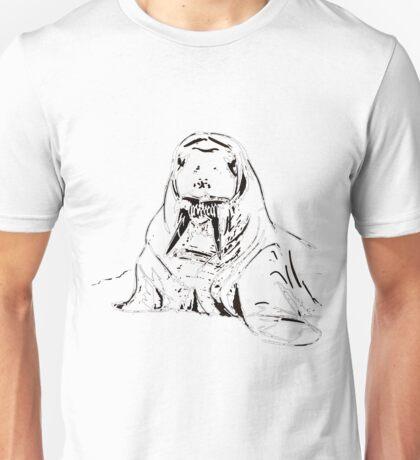 Playful Cute Adorable Fun Pencil Sketched Walrus Unisex T-Shirt