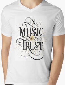 In Music We Trust {Distressed Version} Mens V-Neck T-Shirt