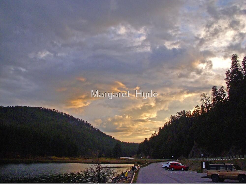 Fishing at sunset, Sheridan Lake,  South Dakota, USA by Margaret  Hyde