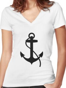 Nautical Anchor Women's Fitted V-Neck T-Shirt