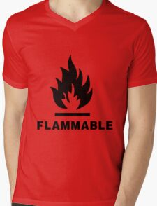 Flammable Mens V-Neck T-Shirt