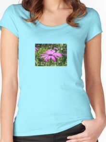 Side View Of A Purple Osteospermum With Garden Background Women's Fitted Scoop T-Shirt