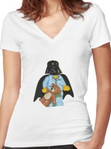 Sleepy Darth Vader Women's Fitted V-Neck T-Shirt