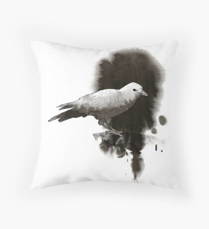Crow In Ink Throw Pillow