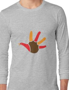 Turkey hand print for thanksgiving Long Sleeve T-Shirt