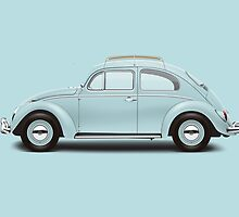 1962 Volkswagen Beetle Sedan - Pacific Blue by artbyedo
