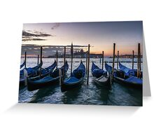 Sunset over the venetian canal Greeting Card