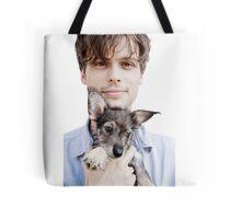 Matthew Gray Gubler Holding Puppy Tote Bag
