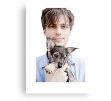Matthew Gray Gubler Holding Puppy Metal Print
