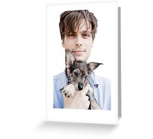 Matthew Gray Gubler Holding Puppy Greeting Card