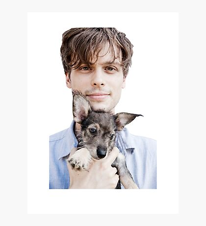 Matthew Gray Gubler Holding Puppy Photographic Print