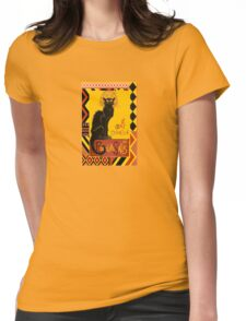 Le Chat D'Amour With Ethnic Coloured Border Womens Fitted T-Shirt