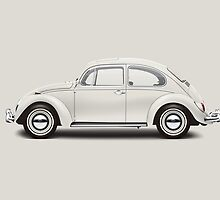 1966 Volkswagen Beetle Sedan - Pearl White by artbyedo