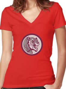 Tiger Head Growling Side Circle Retro Women's Fitted V-Neck T-Shirt