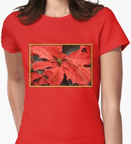 Poinsettia ~ Sprinkled with Glitter Womens Fitted T-Shirt