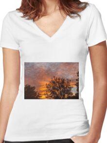 Golden Sunrise Women's Fitted V-Neck T-Shirt