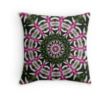 Hot pink and white flower mandala. Throw Pillow