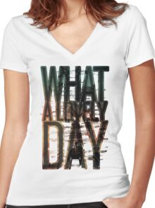 What a lovely day - Mad Max: Fury Road Women's Fitted V-Neck T-Shirt