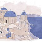 Santorini, the Greek jewel of Aegean Sea sepia by mikath