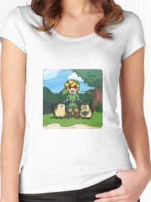 Legend of Zelda Skyward Sword: Link and Kikwis Women's Fitted Scoop T-Shirt