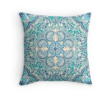 Gypsy Floral in Teal & Blue Throw Pillow