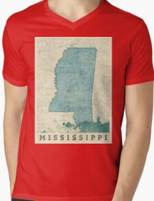 Mississippi State Map Blue Vintage Mens V-Neck T-Shirt