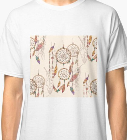 Bohemian dream catcher with beads and feathers Classic T-Shirt