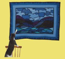 Cat observing the hanging of a quilt 2 One Piece - Short Sleeve