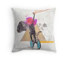 Rainbow child riding a bike Throw Pillow