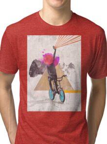 Rainbow child riding a bike Tri-blend T-Shirt