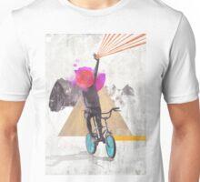 Rainbow child riding a bike Unisex T-Shirt