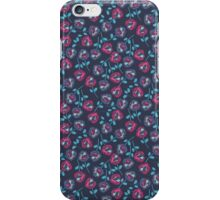 Blue, Red Flower Pattern iPhone Case/Skin
