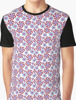 Red & Blue Flower Pattern Graphic T-Shirt