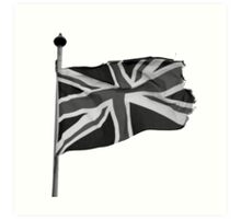 Great Britain flag, union jack Black & White Art Print