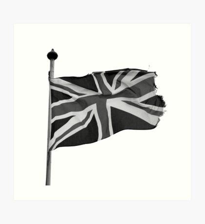 Great Britain flag, union jack Black & White Art Print