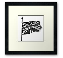 Great Britain flag, union jack Black & White Framed Print