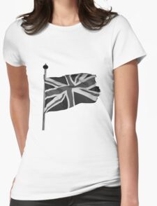 Great Britain flag, union jack Black & White Womens Fitted T-Shirt