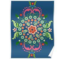 Folk Art Medallions on indigo blue Poster