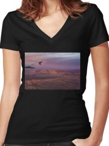 Loving the Window Seat - Pink Dawn Over the High Mojave Desert Women's Fitted V-Neck T-Shirt