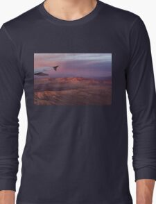 Loving the Window Seat - Pink Dawn Over the High Mojave Desert Long Sleeve T-Shirt