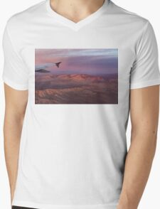 Loving the Window Seat - Pink Dawn Over the High Mojave Desert Mens V-Neck T-Shirt