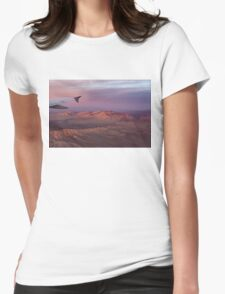Loving the Window Seat - Pink Dawn Over the High Mojave Desert Womens Fitted T-Shirt