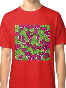 Funky Hot Pink Lime Green Melons Pattern Classic T-Shirt